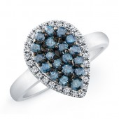 14k White Gold Treated Blue Diamond Pear Shaped Ring