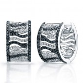14k White Gold Black and White Diamond Hoop Earrings