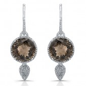 14k White Gold with Black Rhodium Round Smokey Quartz Diamond Earrings