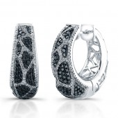 14k White Gold Black and White Diamond Animal Print Hoop Earrings
