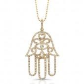 14k Yellow Gold White Diamond Hamsa Pendant