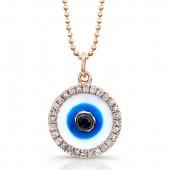 14k Rose Gold Enamel Evil Eye Pendant with Black Diamond Center