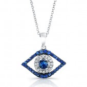 14k White and Black Gold Diamond Evil Eye Pendant with a Sapphire Center
