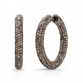 18k White Gold with Black Rhodium Pave Brown Diamond Hoop Earrings