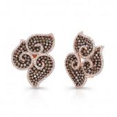 14k Rose and Black Gold Brown Diamond Petal Earrings
