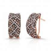18k Rose and Black Gold Geometric Patterned Diamond Earrings