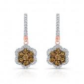 18k Rose and Black Gold Brown Diamond Flower Earrings