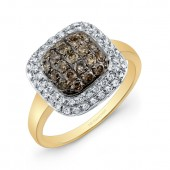 14k Yellow and Black Gold Brown Diamond Square Halo Ring