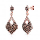 14k Rose and Black Gold Wavy Edge Marquise Shaped Brown Diamond Drop Earrings