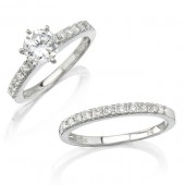 18k White Gold Micro Prong Diamond Engagement Ring Set