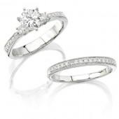 14k White Gold Three Stone Petite Diamond Bridal Set
