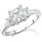 14k White Gold Three Stone Emerald Cut Diamond Semi Mount