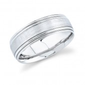 14k White Gold Mens Wedding Band With Brushed Finish
