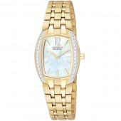 Citizen Ladies Eco-Drive Silhouette - Crystals - MOP Dial - Gold-Tone - WR 30M