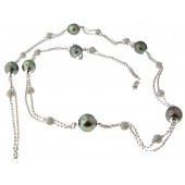 Black Pearl & Diamond Necklace