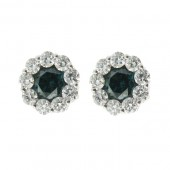 Blue and White Diamond Studs