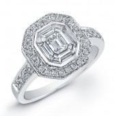 14k White Gold Classic Emerald Cut Diamond Ring