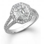 14k White Gold Split Shank Ring