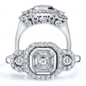 18k White Gold Diamond Emerald Star Asscher Diamond Ring