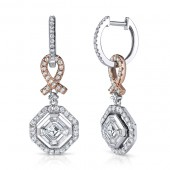 18k White and Rose Gold Pink Ribbon Asscher Diamond Earrings