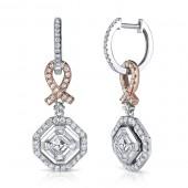 18k White and Rose Gold Pink Ribbon Asscher Diamond Earrings
