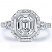 18k White Gold Emerald Cut Diamond Mosaic Center Ring
