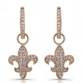 14k Rose Gold Fleur De Lys Earrings