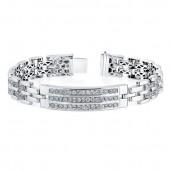 14k White Gold Pave Diamond Gentleman's Bracelet