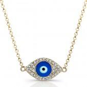 14k Yellow Gold Diamond Dark Blue Enamel Evil Eye Chain Necklace