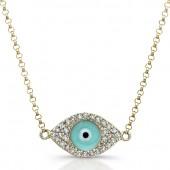 14k Yellow Gold Diamond Light Blue Enamel Evil Eye Chain Necklace