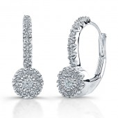 14k White Gold Diamond Lever Earrings