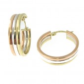 Tri Color Gold Hoops