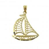 Gold Sail Boat Pendant