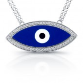 14k White Gold Enamel Evil Eye Diamond Necklace