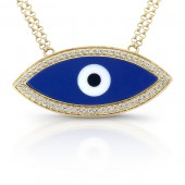 14k Yellow Gold Enamel Evil Eye Diamond Necklace