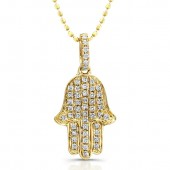 14k Yellow Gold Diamond Pave Hamsa Pendant
