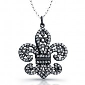 14k Black Gold Diamond Lined Fleur De Lys Pendant