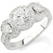 18k White Gold Three Stone Vintage Engagement Ring