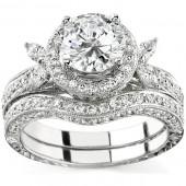 14k White and Rose Gold Marquise Side Diamond Bridal Set