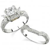 14k White Gold Marquise Diamond Semi Mount Bridal Set