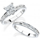 18k White Gold Channel and Bezel Bridal Set