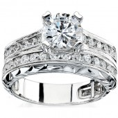 14k White Gold Pave and Channel Round Diamond Bridal Set