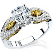 18k White and Yellow Gold Pave and Prong Set Marquise Diamond Semi Mount