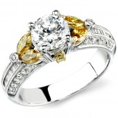 18k White and Yellow Gold Golden Marquise Side Stones Semi Mount