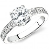 14k White Gold Channel and Pave Detailed Diamond Semi Mount