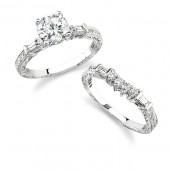 14k White Gold Channel Pave and Prong Diamond Bridal Set
