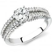 18k White Gold Prong and Bezel Split Shank Diamond Semi Mount