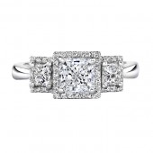 14k White Gold Pave and Prong Diamond Semi Mount