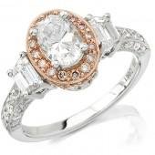 18k White and Rose Gold Diamond Halo Semi Mount