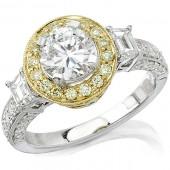 14k White and Yellow Gold Diamond Halo Semi Mount